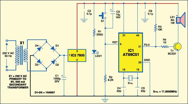 Fig.3: Circuit of microcontroller based ringtone generator