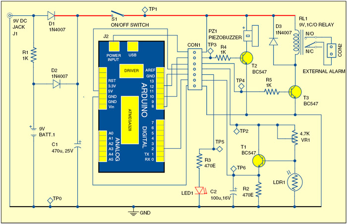Fig. 1: Circuit of Arduino-based shadow alarm