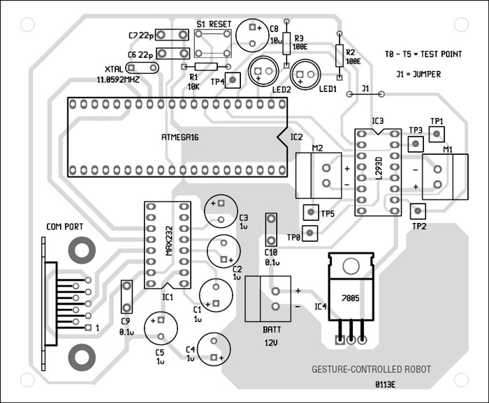 Fig. 8: Component layout for the PCB
