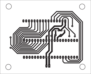 Fig. 9: Actual-size, single-side PCB layout formessage display on LCD