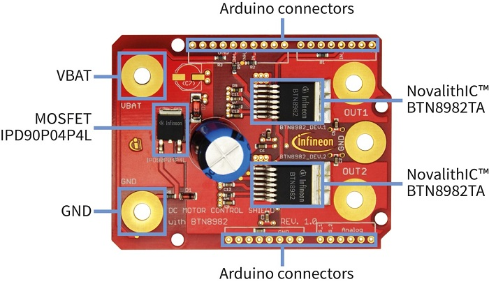 Figure 7: DC Motor Control Shield with BTN8982TA for Arduino