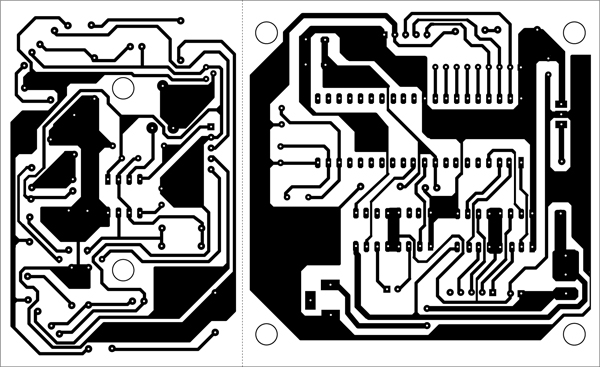 Fig. 4: A single-side, actual-size PCB layout for the AT89C52-based robocar