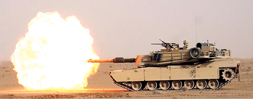 Fig. 3: American M1A1 Abrams tank with its shorter barrel (Photograph credit: US Navy, through Wikipedia)