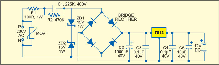 Fig. 9: Efficient capacitive power supply with series regulator