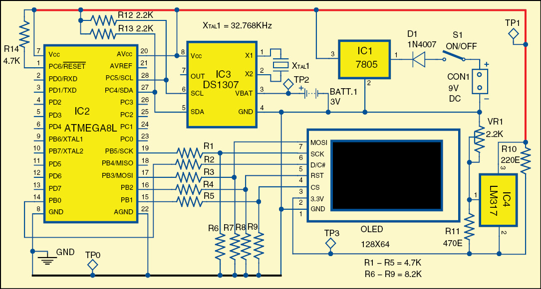 Fig. 2: Circuit of solar compass with OLED display