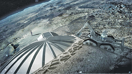 Multi-dome lunar base built by the European Space Agency using 3D printing techniques (Courtesy: ESA/ Foster+Partners)