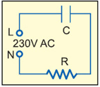 Fig. 1: AC through a series capacitor and resistor