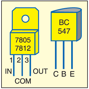 Fig. 6: Pin details of 7805, 7812 and BC547