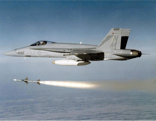 Fig. 5: AIM-7 sparrow being launched from F-18A Hornet