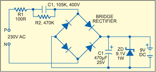 Fig. 5: Capacitive power supply with full-wave rectification