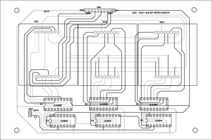 Fig. 9: Component-side track layouts of top as well as bottom layers of the display unit