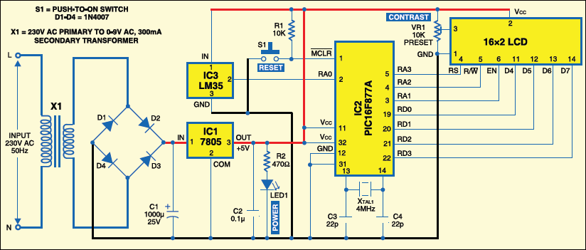 fig 2: circuit of pic16f877a-based temperature monitoring system