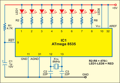 Fig. 2: A simple LED display circuit using ATmega8535