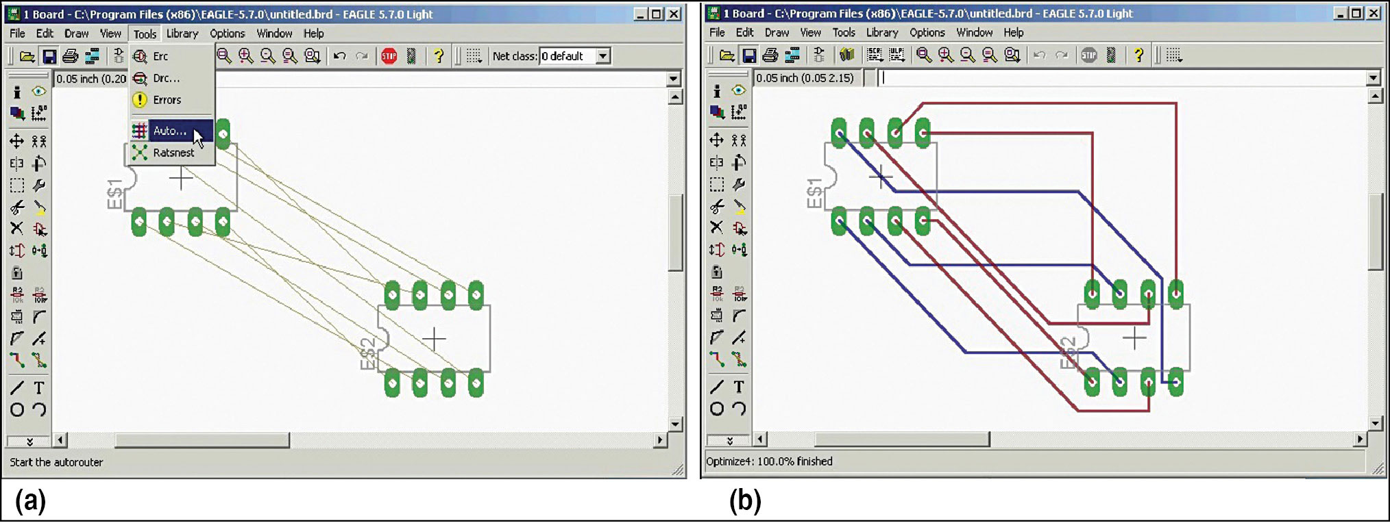 Fig. 2: Make your design route by itself: (a) before autorouting, and (b) after autorouting (Image courtesy: www.youtube.com)