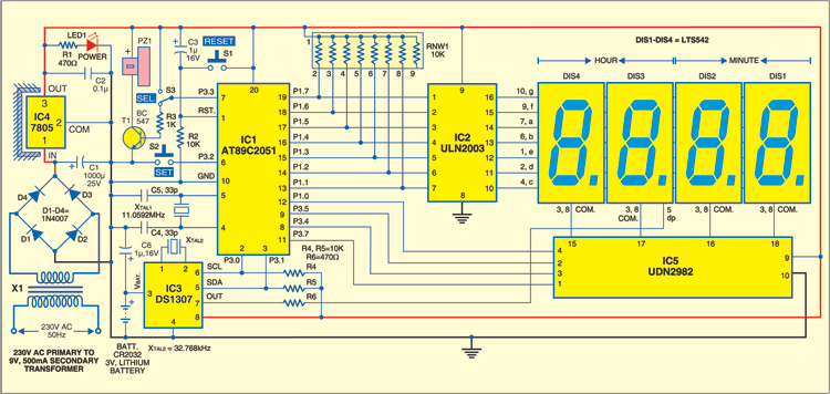 1: Circuit Of Microcontroller Based Clock Using DS1307