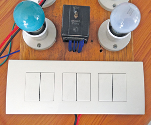 Internet-enabled switch connected to lights