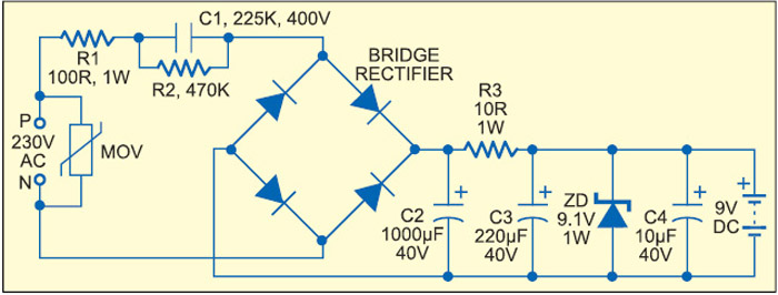 Fig. 8: Capacitive power supply with more power efficiency