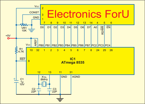 Fig. 6: Circuit for message display on the LCD