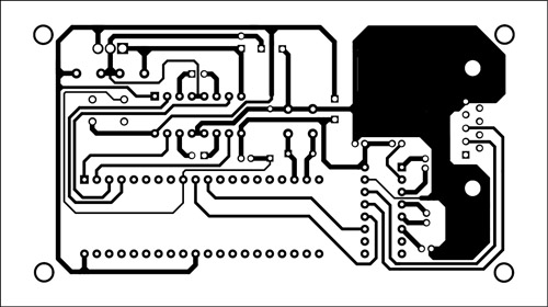 Fig. 6: An actual-size, single-side PCB for the robot