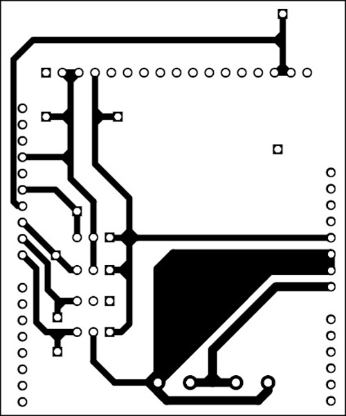 Fig. 9: An actual-size, single-side PCB for the RF-controlled aircraft (receiver's side)