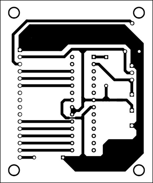 Fig. 3: An actual-size, single-side PCB for the serial LCD module