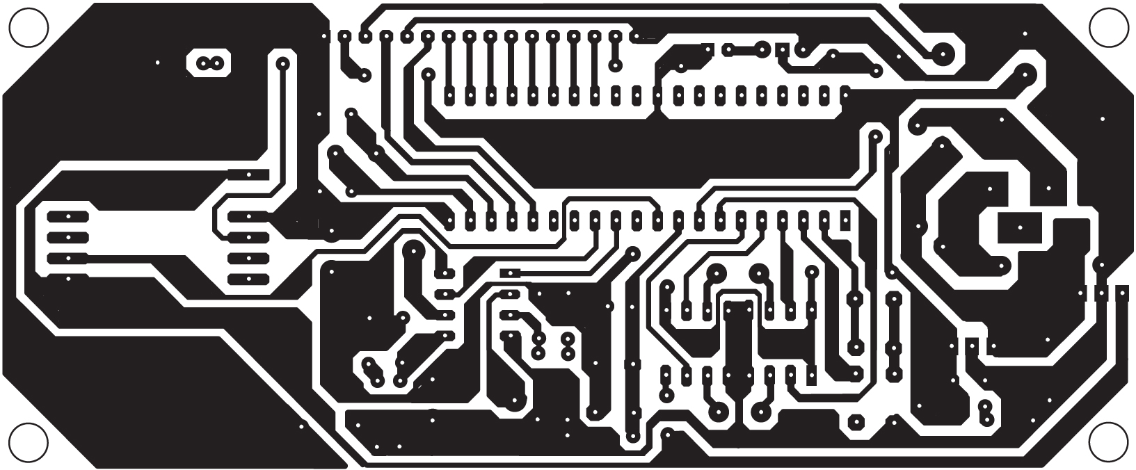 Fig. 7: An actual-size, single-side PCB for the RFID-based automatic vehicle parking system