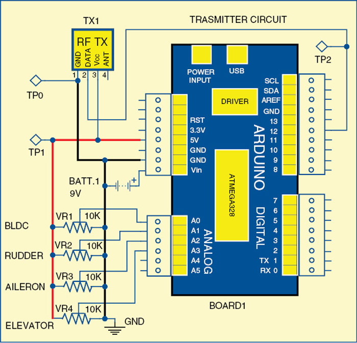 Fig. 1: Circuit of the RF-controlled aircraft (transmitter's side)