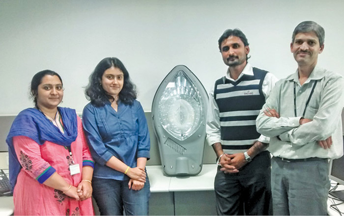 The team from Bosch (L to R) Triveni Prabhu, project technical manager for IoT solutions; Meghana Neelakanta, specialist in IoT solutions; Prasanna Kumar, energy domain expert; and Ravichandra Bhat, group manager, with their innovation