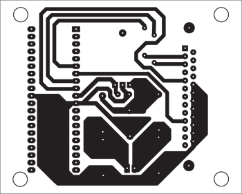 Fig. 7: Actual-size, single-side PCB layout for AVRprogrammer (Pod