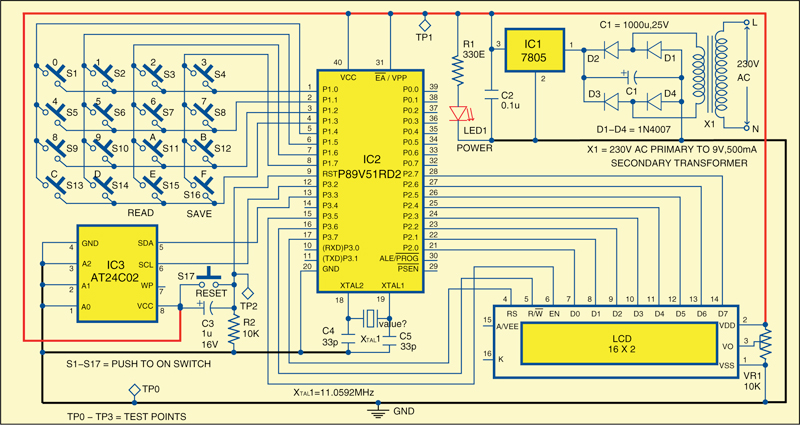 Fig. 1: Circuit of EEPROM interface for beginners