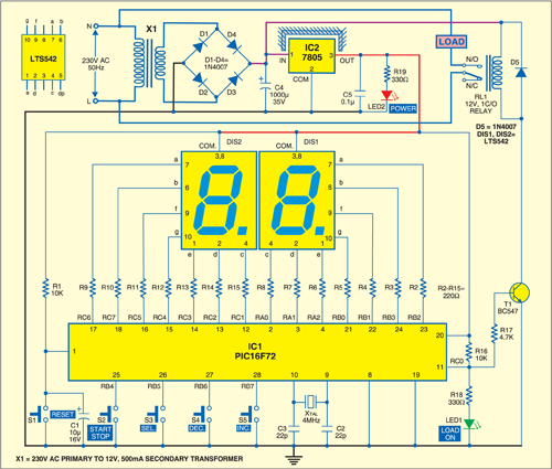 Fig. 1: Circuit of time-controlled switch using PIC16F72 microcontroller