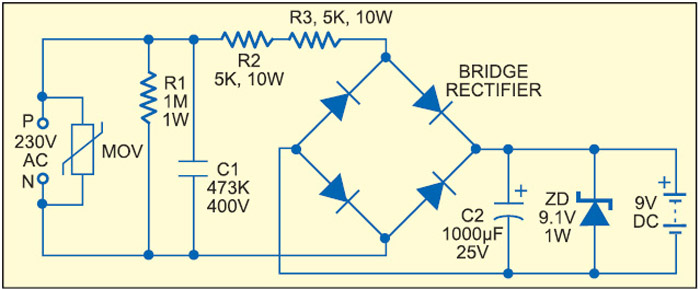 Fig. 7: Resistive power supply with transient and EMI protection