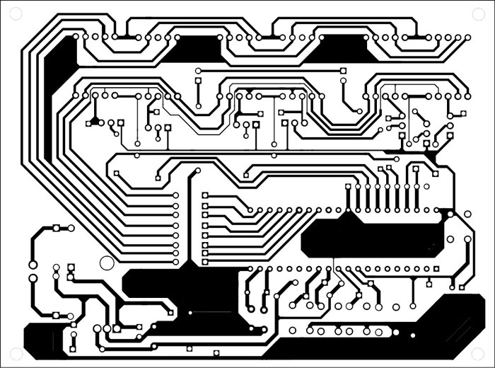 Fig. 3: An actual-size, single-side PCB for stop clock including the power supply section