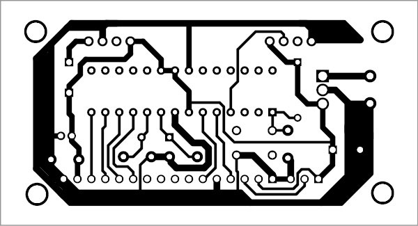 Fig. 6: Actual-size PCB pattern of the receiver unit