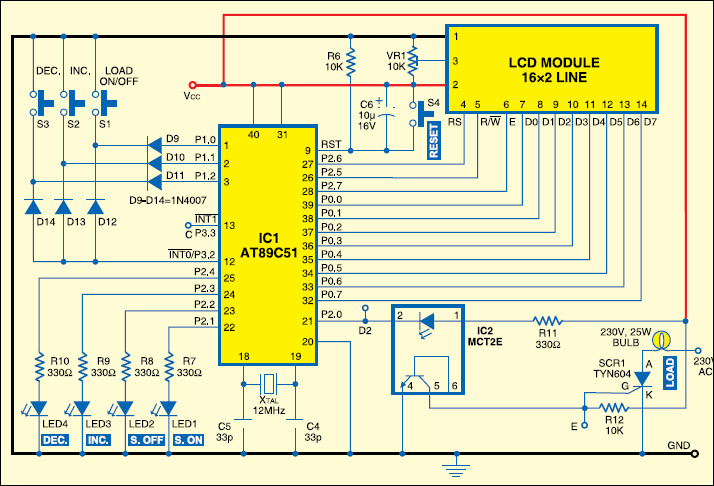 Fig.2: Circuit diagram of phase angle control of SCR using AT89C51