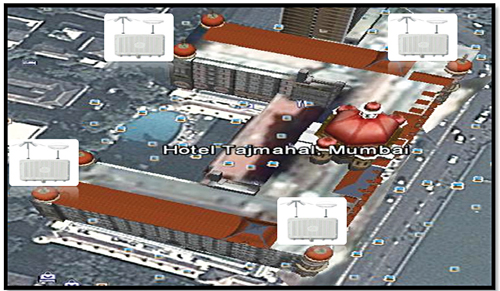 Fig. 2: Multiple RF sensors to determine emitting devices in Hotel Taj Mahal building