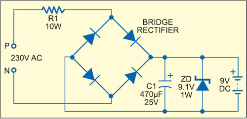 Fig. 4: Resistive power supply with full-wave rectification