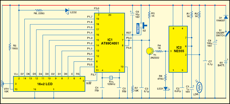 Fig.2: Circuit of the RPM counter using AT89C4051