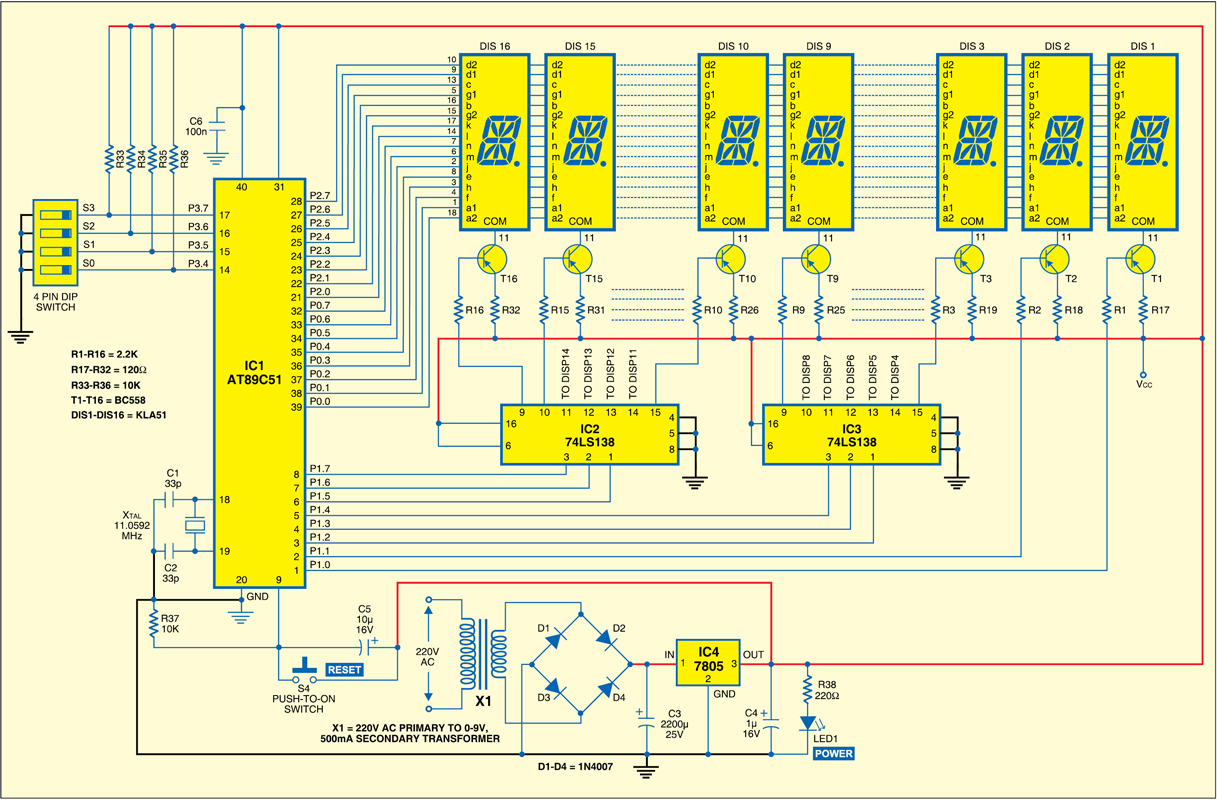 Microcontroller Based Moving Message Display Electronics For You Three Light Control Switch Circuit Free Electronic Circuits 8085 Fig1