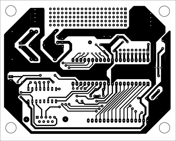 Fig. 23: Integrated actual-size PCB layout (including the 5V power supply circuit given in Part 1) for all the applications described in this 3-part article