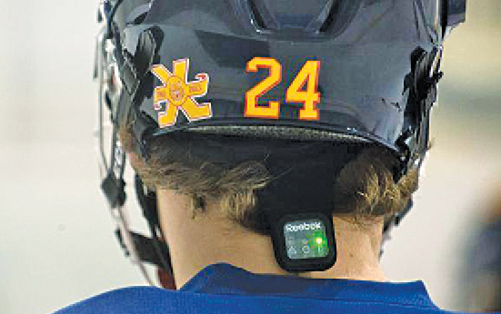 A player wearing Reebok Checklight, a skullcap with sensors to monitor head impacts during play (Image courtesy: thechronicleherald.ca)