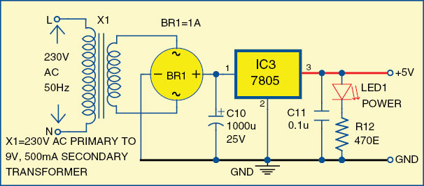 Fig. 3: Circuit diagram of the 5V power supply