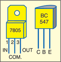 Fig. 2: Pin configurations of 7805 and BC547