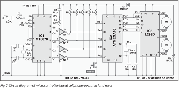 Cellphone Operated Land Rover | Full Circuit Diagram With Explanation