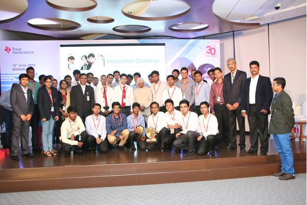 The finalists of TIIC India Design Contest 2015 along with Dr APJ Abdul Kalam and TI officials. Image courtesy: Texas Instruments India