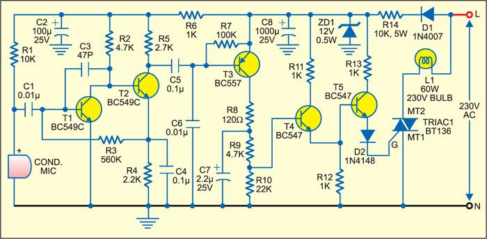 sound operated lamp switch detailed circuit diagram available