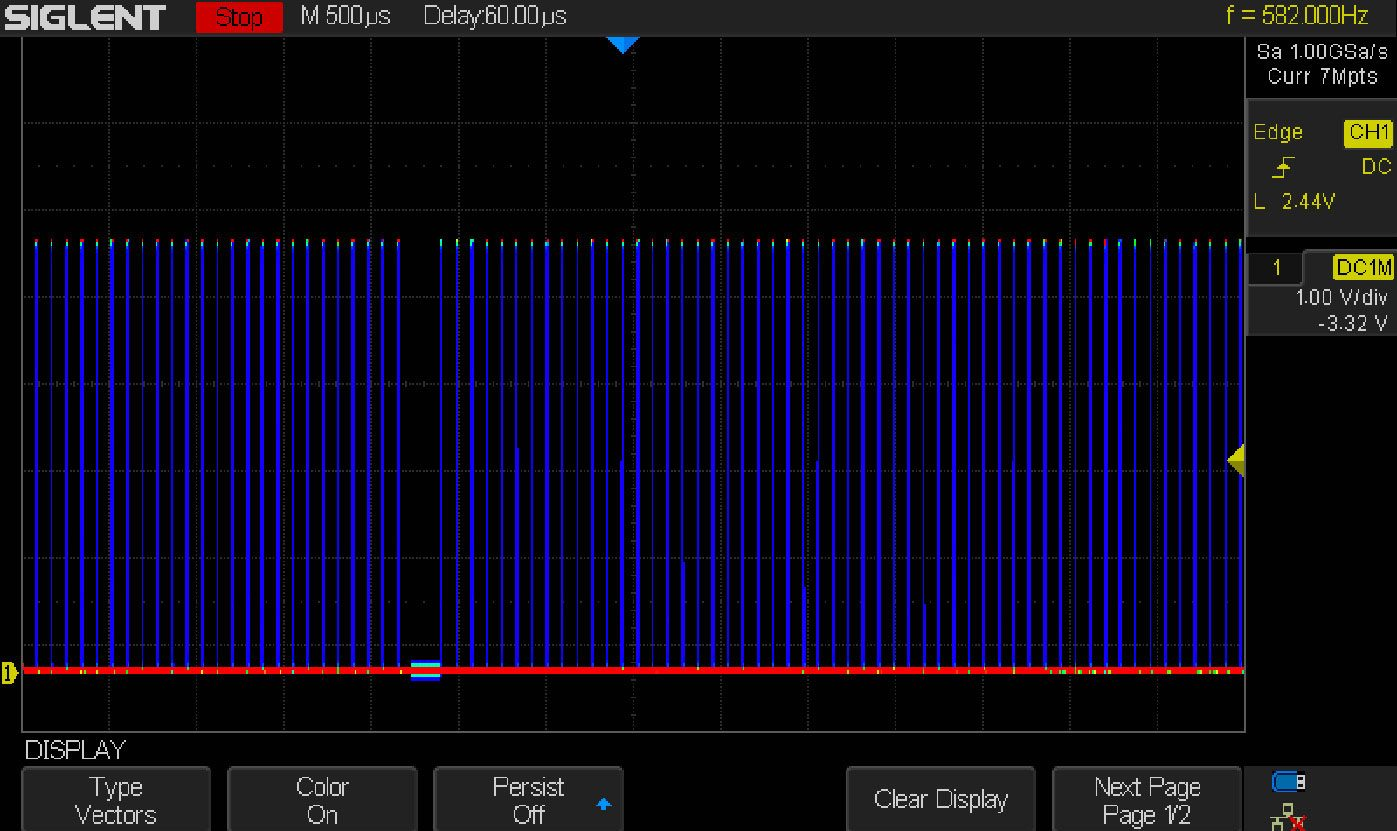 Figure 10: A PWM signal with random noise generated by a device
