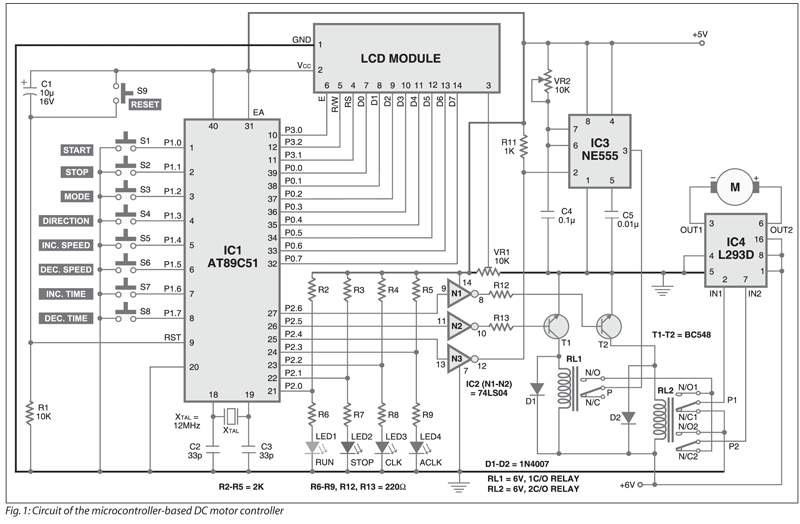 AT89C51 Based DC Motor Controller | Electronics For You
