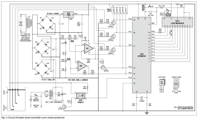 Water Level Controller Cum Motor Protector Circuit Diagram With