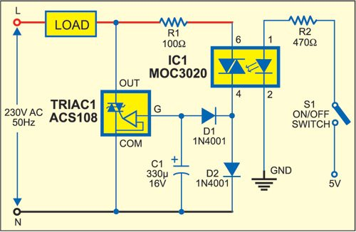 1: circuit of ac switch control with opto-triac